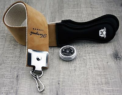 Brown 2 Sided Hanging Men's Razor/Knives Sharping Strop With Sharping Paste.