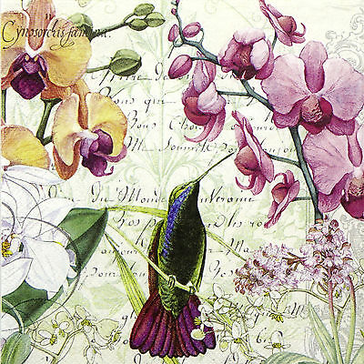 4x Paper Napkins for Decoupage Vintage Orchids In Bloom
