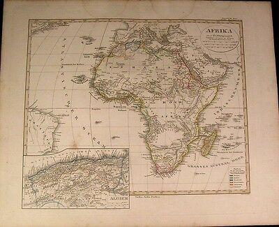 Africa continent Mts. of Moon 1852 Stulpnagel antique Stieler colonial power map