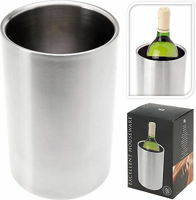 Chrome Silver Stainless Steel Double Walled Wine Champagne Bottle Cooler Bucket
