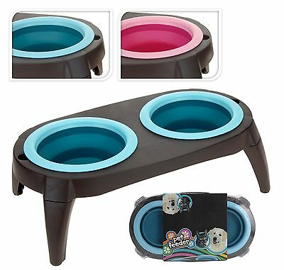 Pet Cat Kitten Dog Double Collapsible Pet Bowl Feeding Water Dish Stand Travel
