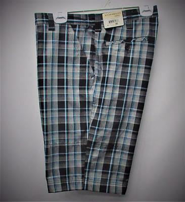 New Mens Size 40 Zomelo Relax plaid cotton polyester golf shorts