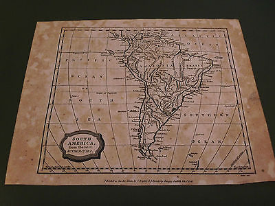 100% Original South America Map By Barlow C1808 Vgc Low Postage