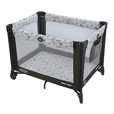 NEW Durable Playard Infant Playpen Pack 'n Play , Carnival Push-Button Fold Baby