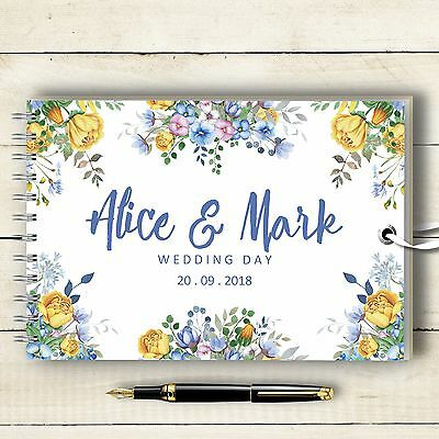 Personalised Wedding Guest Book Yellow & Blue Flowers Photo Album Memory Book