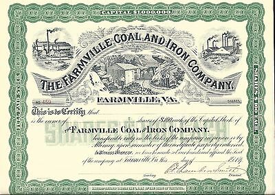 The Farmville Coal And Iron Company (Virginia)...1890's Unissued Certificate