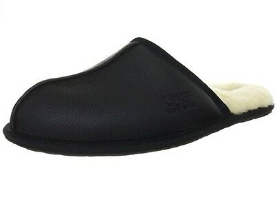 New UGG 1001546 BLK Scuff Black Leather Men's Slip On Slippers Size 8 US