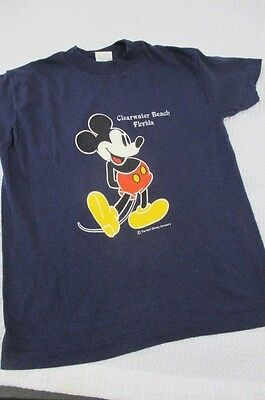 Vtg 80's Mickey Mouse T Shirt Clearwater Beach Florida Kids Boys Girls 10 12