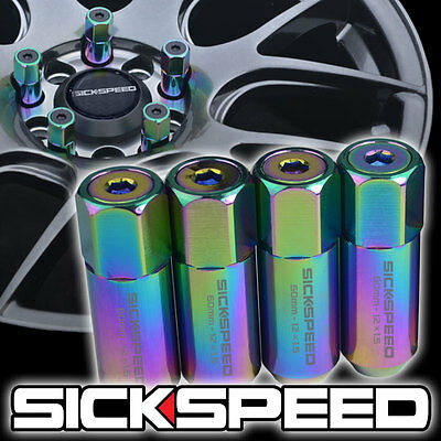 4 Neo-Chrome/neo Capped Aluminum Extended Tuner Lug Nuts For Wheels 12X1.5 L20