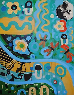 "Hopi Folk Art Painting by Gregory Lomayesva, Mixed Media on Canvas 46""x36"""