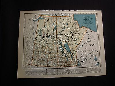 Vintage 1940 Color Map of Four Canadian Providences from Colliers World Atlas