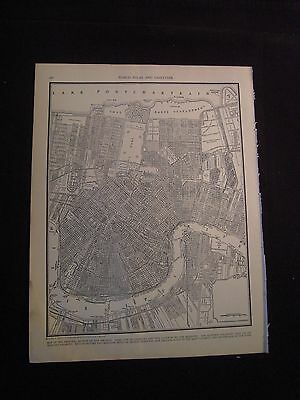 Vintage 1940 B&W Map of New Orleans from Colliers World Atlas