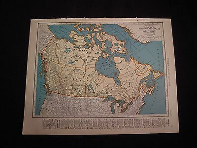 Vintage 1940 Color Map of Canada or Nova Scotia from Colliers World Atlas