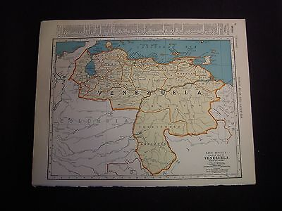 Vintage 1940 Color Map of Venezuela from Colliers World Atlas