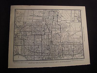 Vintage 1940 B&W Map of Toronto from Colliers World Atlas