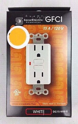 SecurElectric 15 Amp 125V GFCI Outlet Receptacle White DG15-WW-B 15A NEW NIB
