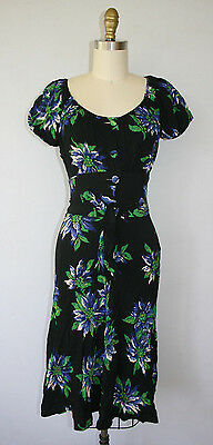 Vintage 40s Dress Black Floral Rayon Gabbanaesque Wiggle Novelty Print Hollywood