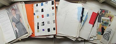 Original HUGE Designer David Crystal Fashion Sketch Drawing LOT c 1950s ++++