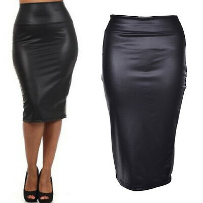 Women PU Leather High Waist Knee Length Straight Package Hip Pencil Skirt MAUS