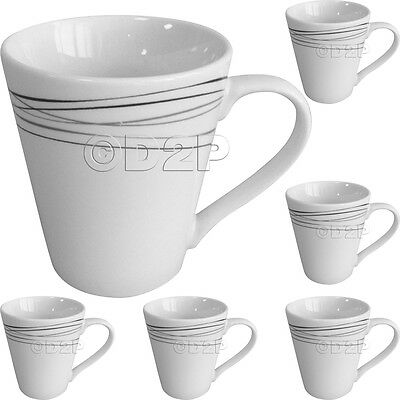 Set Of 6 Strata Design Porcelain Large Coffee Tea Soup Mugs Cups Gift Mug Cup