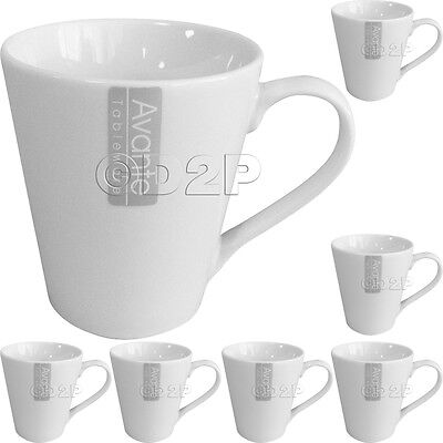 Set Of 6 Plain White Porcelain Large Coffee Tea Soup Mugs Cups Gift 11Oz Mug Cup
