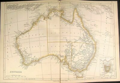 Australia w/ huge Lake Torrens c.1852 Lowry Chapman Hall antique folio map