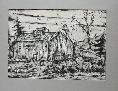 Lewis J Miller (1912-2007) Pen and Ink Drawing of Clapboard Building By a Lake