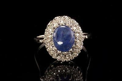 Vintage Cabochon Cornflower Blue Sapphire Diamonds 14K White Gold Ring