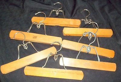 """Vintage 9"""" Blonde Wood Trouser Pant Skirt Clamp Clothes Hangers ~ Lot of 7"""