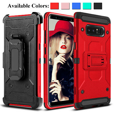 For Samsung Galaxy Note 9/8/S8/S9 Plus/S8 Active Hybrid Hard Kickstand Clip Case