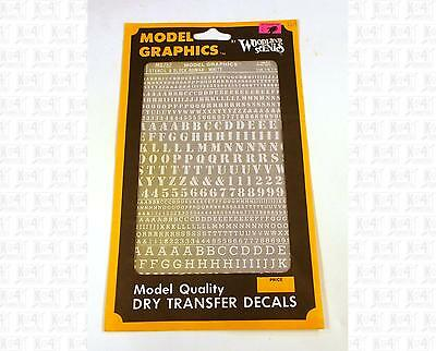 """Model Graphics HO Decals White 3/32 1/8 1/4"""" Stencil Block Roman Letters MG752"""
