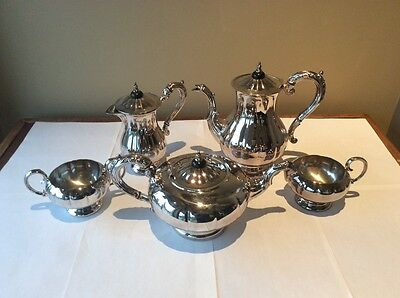 5 Piece Tea & Coffee Set Marlboro Silver Plate | with Cream, Sugar and Water Pot