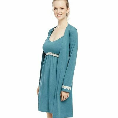 Oh Baby! Motherhood Nursing, Maternity Teal Gown & Robe Set.Birth, Hospital Wear