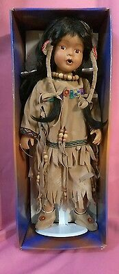PREOWNED!! NATIVE AMERICAN INDIAN PORCELAIN DOLL With Stand by: Ashley Belle
