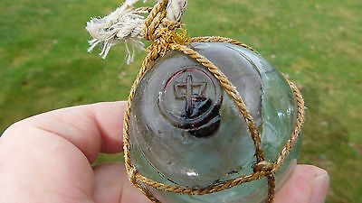 Vintage Genuine Japanese Glass Float W/ Cranberry Seal Button Marked