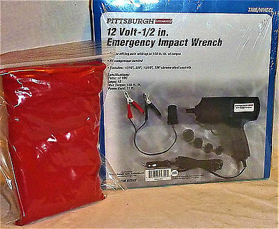 "12 Volt 1/2"" Emergency Impact Wrench plugs into cigarette lighter W/ 5pk. TOWELS"