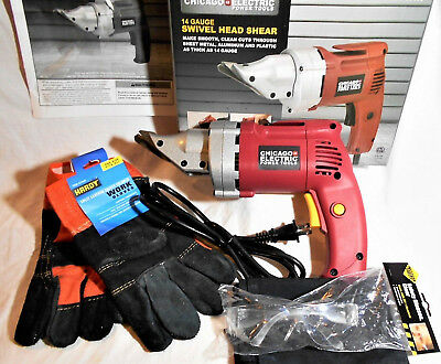 ELECTRIC METAL SHEARS 14 GAUGE HEAVY DUTY W/ ANSI SAFETY GLASSES free