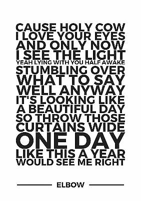 ONE DAY LIKE THIS LYRICS ELBOW TYPOGRAPHY A4 260GSM POSTER PRINT