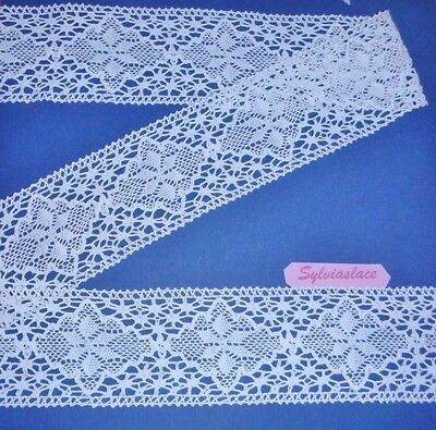 2 metres  of  White  Pure  Cotton  Cluny  Lace      75  mm Wide