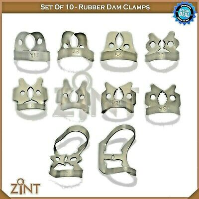 Rubber Dam Universal Clamps Upper & Lower Premolar Anterior Medesy Basic Set New