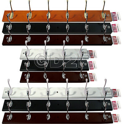 4 6 Hook Wall Mounted Coat Rack Hat Clothes Hanging Hanger Robe Holder Rail