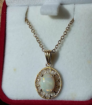 Genuine Solid Australian White Opal Necklace 18ct Gold Plated Pendant