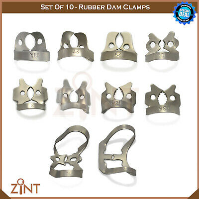 Set Of 10 Rubber Dam Clamps For Molars Dental Restorative Endodontic Instruments