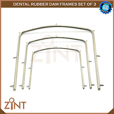 Set Of 3 Rubber Dam Frames Restoration Endodontic Laboratory Instruments New CE