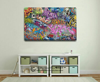 Graffiti Abstract Canvas Prints Framed Wall Art Home Kids Decor Painting Gift
