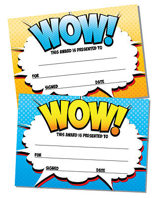'Award' certificates  'WOW' - 16 x A6 - Perfect for any award, teachers, kids