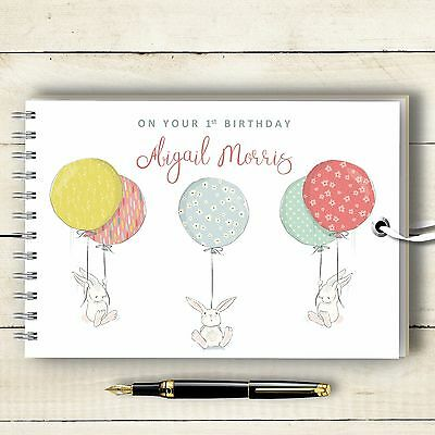 Personalised Guest Book Bunny Balloon Naming Day, Birthday, Baptism, Baby Shower