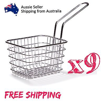 9X fryer style serving basket chips fries sides tapas cafe chrome Food Display