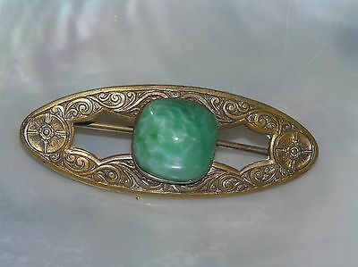 Vintage Etched Brass Victorian Oval Bar w Green Peking Glass Sugarloaf Cab Pin