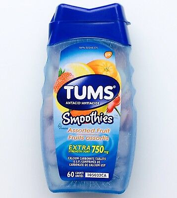 Tums SMOOTHIES Fruit Extra Strength 750mg Antacid Calcium Carbonate 60 Tablets